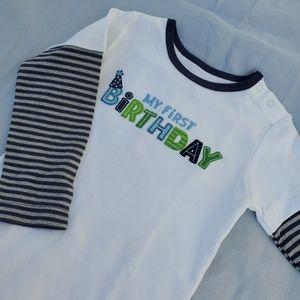 NWT My First Birthday! Long striped sleeve